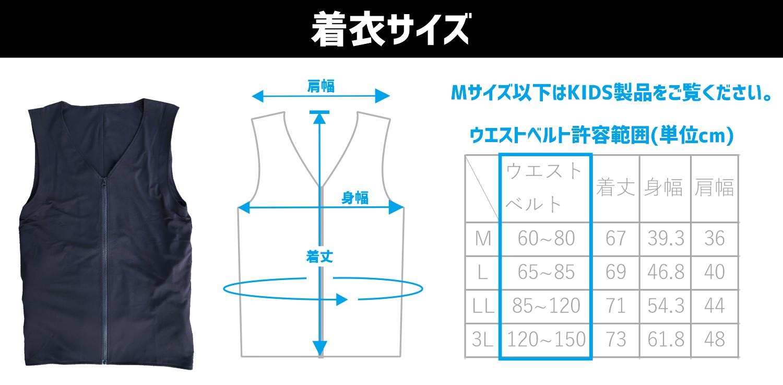 着衣サイズ表 人間エアコン
